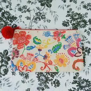 Canvas multicolor floral boho makeup pouch
